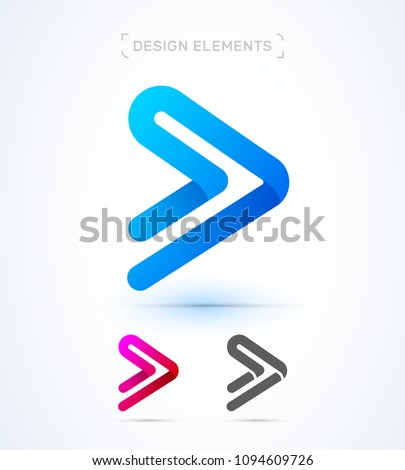 Vector abstract play button arrow logo template. Material design, origami flat style. Application icon