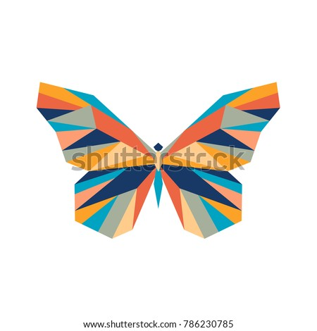 Vector. Abstract polygon butterfly. The geometric colorful symbol of a insect.