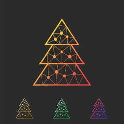 Vector. Abstract polygonal colorful Christmas tree. The set of geometric outline of the spruce trees.