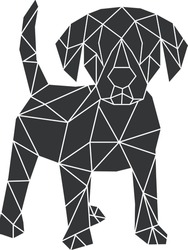 Vector abstract polygonal geometric dog