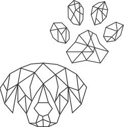 Vector abstract polygonal geometric paw print, dog head