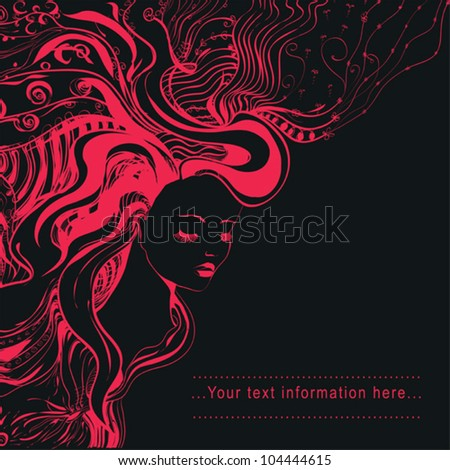 vector abstract portrait of beautiful young woman