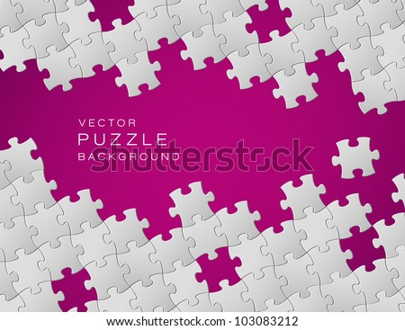 Vector Abstract purple background made from white puzzle pieces and place for your content