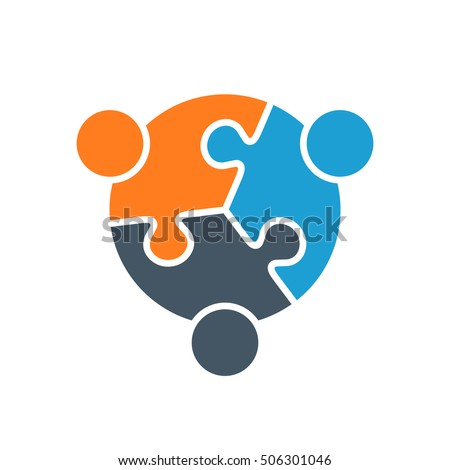 Vector Abstract Puzzle Stylized Family of 3, Team lcon, Logo, Illustration Isolated