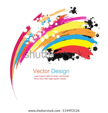 vector abstract rainbow firework, ink paint stripe background