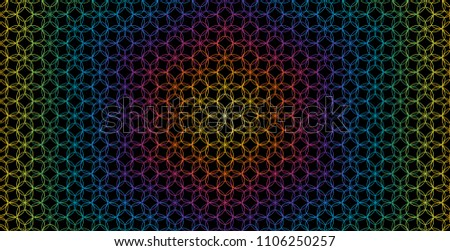 Vector abstract rainbow sacred geometric background; simple geometry with flower of life.