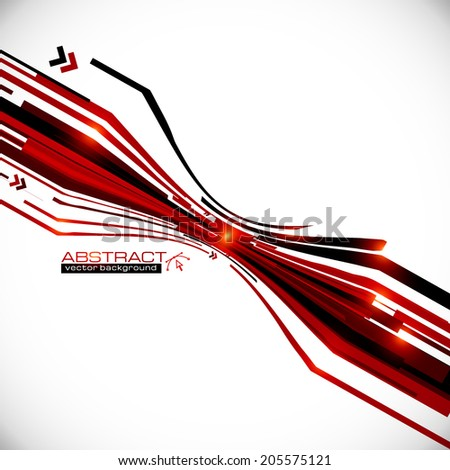 Stock Photo Vector abstract red and black perspective lines vector background