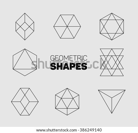 Vector abstract regular geometric shapes - black on gray background