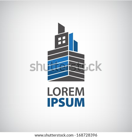 vector abstract ribbon building construction, factory logo for company
