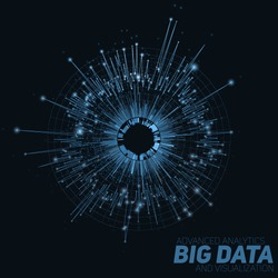 Vector abstract round big data visualization. Futuristic infographics design. Visual information complexity. Intricate data threads graphic. Social network or business analytics representation.