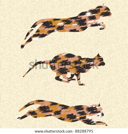 Vector abstract running textured animals from cats family.