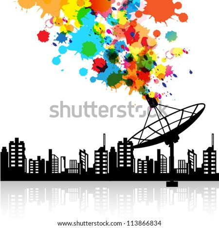 vector abstract satellite dish signal technology, telecommunication background