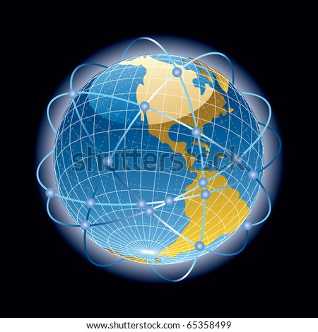 vector abstract satellites around the world