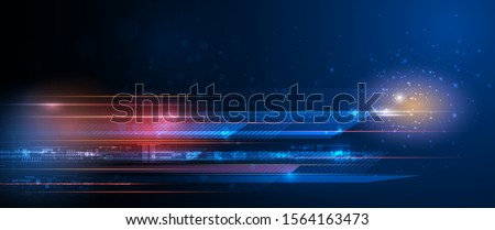 Vector Abstract, science, futuristic, energy technology concept. Digital image of light rays, stripes lines with blue light, speed and motion blur over dark blue background Stock photo ©