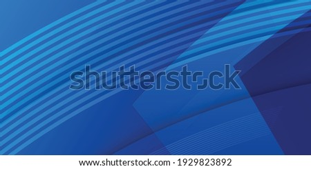 Vector Abstract, science, futuristic, energy technology concept. Digital image of polygon overlap, golden stripes lines with blue light, speed and motion blur over dark blue background