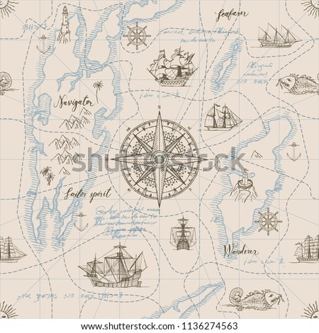Vector abstract seamless background on the theme of travel, adventure and discovery. Old hand drawn map with vintage sailing yachts, wind rose, routs, nautical symbols and handwritten inscriptions #1136274563