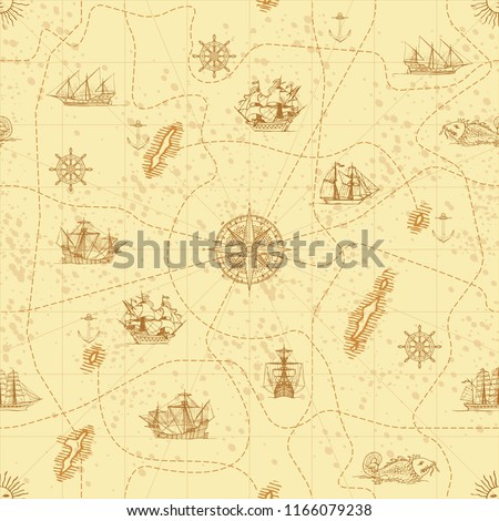 Vector abstract seamless background on the theme of travel, adventure and discovery. Old hand drawn map with vintage sailing yachts, wind rose, routes and nautical symbols