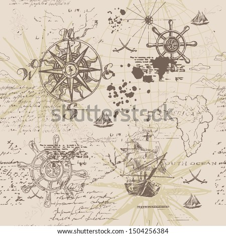 Vector abstract seamless background on the theme of travel, adventure and discovery. Old hand drawn map with vintage sailing yachts, wind rose, routs, nautical symbols and handwritten inscriptions Stockfoto ©