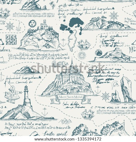 Vector abstract seamless background on the theme of travel, adventure and discovery. Old manuscript with islands, lighthouses, sailboats and nautical symbols with ink blots and stains in vintage style #1335394172
