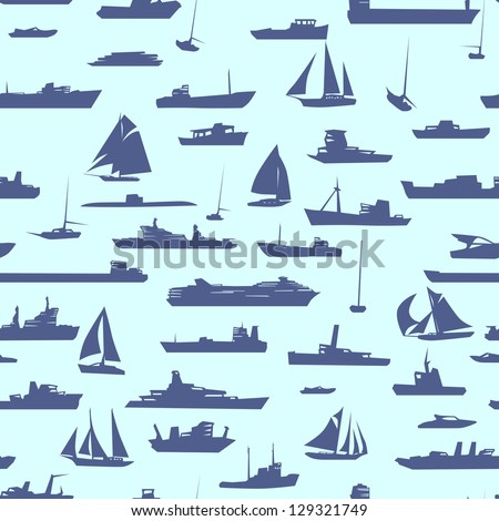 Vector abstract seamless background with many ships in sea.