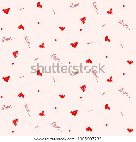Vector - Abstract seamless pattern of many mini hearts, polka dot and wording 'Love' on pink background. Can be use for print, paper, fabric, wrapping, origami. ストックフォト ©