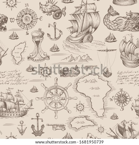 Vector abstract seamless pattern on the theme of travel, adventure and discovery. Vintage repeating background with hand-drawn sailboats, map, anchors and sea monsters.