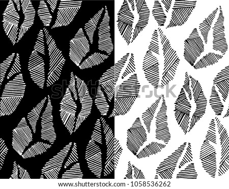 Vector abstract seamless pattern. Stylized floral elements, fantastic flowers, leaves. Black and white hand drawn textile bohemian print. Batik, wallpaper, wrapping