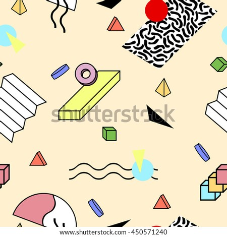 Vector abstract seamless pattern with geometric 3d shapes. Retro memphis hipster style, fashion 80-90s. You can use like education, science or children background and also for you other design.