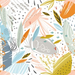 Vector abstract seamless pattern with scribble textures and doodle floral elements.