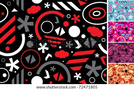Vector abstract seamless patterns with geometric elements