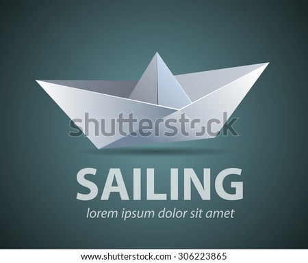 Vector Abstract Shape Boat Paper Origami As A Company Logo