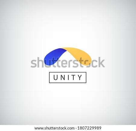 Vector abstract shape logo, dual, unity, arc icon. 2 colors web icon, creative concept Stock fotó ©