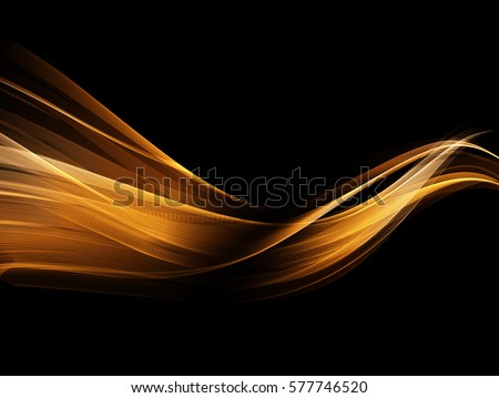 Vector Abstract shiny color gold wave design element on dark background. Science or technology design