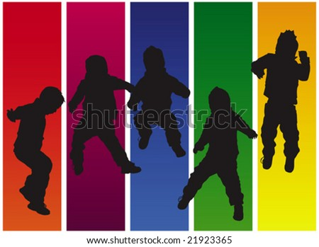 Vector abstract silhouette of a jumping boy on a colorful background