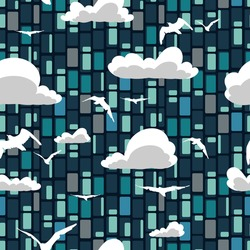 Vector abstract skyscraper seamless pattern with clouds and birds