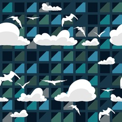 Vector abstract skyscraper windows, seamless pattern with clouds and birds