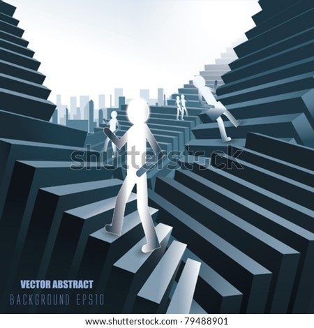 Vector Abstract Stairs with people