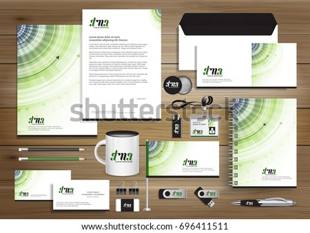 Vector abstract stationery Editable corporate identity template design, Gift Items business Color promotional souvenirs elements. link digital technology Stationery set, blue, Green,
