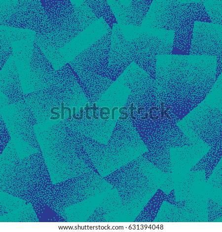 Vector Abstract Stippled Weird Hipster Seamless Pattern. Handmade Tileable Geometric Dotted Grunge Turquoise and Blue Solid Simple Background. Bizarre Art Illustration
