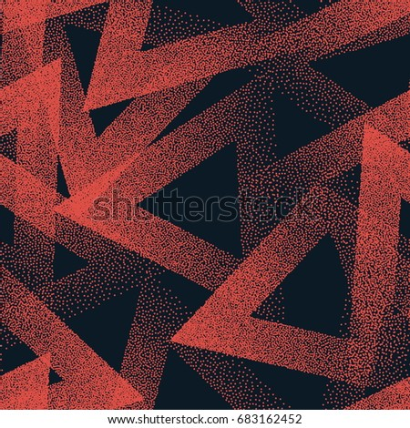 Vector Abstract Stippled Weird Hipster Seamless Pattern. Handmade Tileable Geometric Dotted Grunge Orange and Black Solid Simple Background. Bizarre Art Illustration