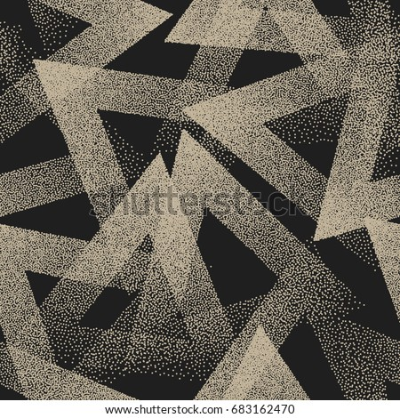 Vector Abstract Stippled Weird Hipster Seamless Pattern. Vintage Handmade Tileable Geometric Dotted Grunge Solid Simple Background. Bizarre Art Illustration