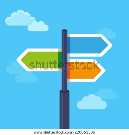 Vector abstract strategy concept in flat style - road sign with different arrows