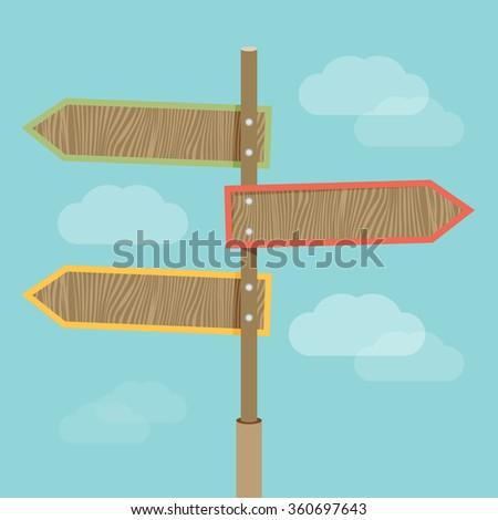 Vector abstract strategy concept in flat style - road sign with different arrows #360697643
