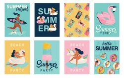 Vector abstract summer time illustration card with pin up girl swimming on animal float circle in ocean waves with calligraphy. Summer party. Hello summer posters in vector. Cute Retro posters set.