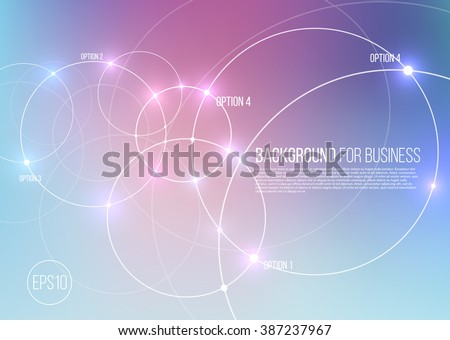 Vector abstract technology background with communication, future concept - rounds, circles and lighting effects on blue blurred mesh - website banner.