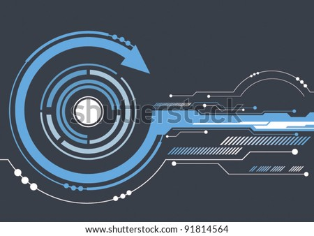 vector abstract technology circle background - stock vector