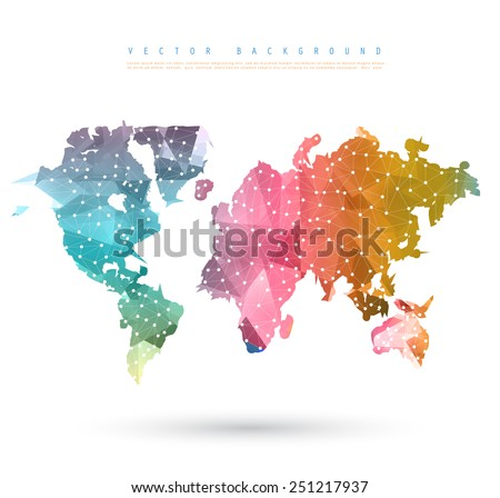 Vector Abstract Telecommunication Earth Map. World map connection illustration