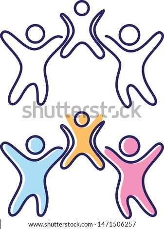 Vector abstract three people icon symbol with children. People in abstract and flat style for element design. Vector illustration EPS.8 EPS.10