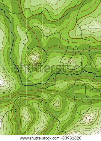 vector abstract topographical green map with no names