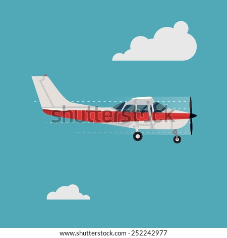 Vector abstract transport and travel flat design illustration on flying small personal single engine airplane   Air taxi light aircraft flying with clear sky and clouds on background, side view